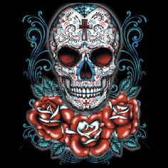 Unisex T Shirt Day of the Dead Sugar Skull With Red Roses 17045