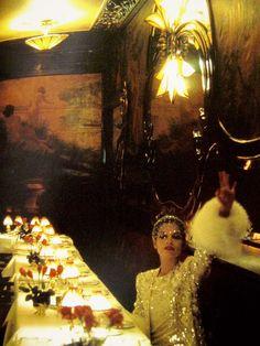 Bianca Jagger in Jean-Louis Scherrer, dining at Maxim's, 1977 Fur-trimmed sequinned Snow White extravaganza and rhinestone veil