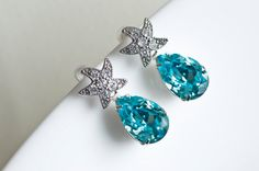 Starfish -  Cubic Zirconia Starfish Earrings and Turquoise Swarovski Crystal Teardrop, Bridal Bridesmaids Earrings, Beach Wedding Earrings
