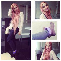 casual santai boots tanpa heels hijab serukuuu
