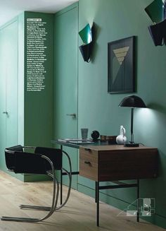 rich teal wall color desk work space