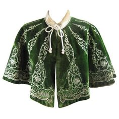 Victorian Cut Velvet Capelet Circa 1890 ❤ liked on Polyvore featuring outerwear, jackets, cape, tops, green cape coat, velvet cape, green velvet cape, green cape and victorian capelet