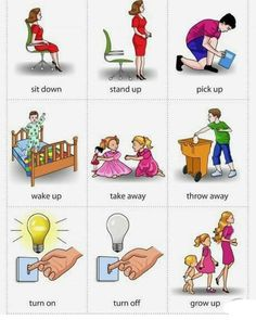 ✓Phrasal Verbs Picture Dictionary 1 ✓Swipe to see more ⬅️⬅️⬅️ English Prepositions, English Grammar Worksheets, English Verbs, Grammar And Vocabulary, English Phrases, English Vocabulary, English Grammar For Kids, Learning English For Kids, English Lessons For Kids