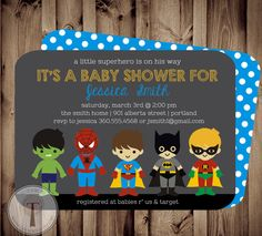 SUPERHERO Baby Shower Invitationsuper hero baby by T3DesignsCo