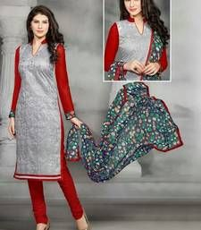Buy Gray embroidered Georgette  semi stitched salwar with dupatta collar-neck-design online