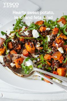 Sweet potato, lentil and feta salad Looking for a salad with substance? Look no further, this hearty dish is packed with roasted sweet potatoes, carrots and red onion, plus nutty Puy lentils and tangy crumbled feta. Healthy Salad Recipes, Veggie Recipes, Vegetarian Recipes, Cooking Recipes, Puy Lentil Recipes, Cooking Bacon, Dinner Recipes, Lentil Meals, Cooking Fish