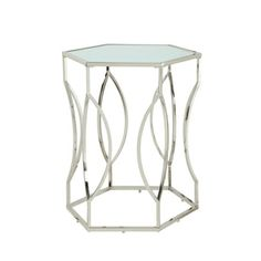 Davlin Hexagonal Metal Frosted Glass Accent End Table By INSPIRE Q Bold By  INSPIRE Q