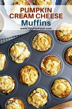 Cream Cheese Muffins A quick and easy pumpkin muffin recipe that's soft and fluffy on the inside with a delicious cream cheese topping. Perfect to eat for breakfast or as a snack. Best Dessert Recipes, Fun Desserts, Fall Recipes, Snack Recipes, Snacks, Brunch Recipes, Breakfast Recipes, Scone Recipes, Eat Breakfast