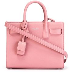 Saint Laurent mini 'Sac de Jour' tote ($2,080) ❤ liked on Polyvore featuring bags, handbags, tote bags, red leather purse, leather tote, pink tote, pink tote bag and red leather handbag
