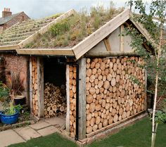A green roofed log shed near Penrith. This roof is planted with wild flower and grass plugs in 2008 and the growing media is deep crushed building mixed with coir potting compost. The photo was taken one year after planting. Garden Buildings, Garden Structures, Casas Cordwood, Log Shed, Outdoor Firewood Rack, Firewood Holder, Firewood Storage, Stacking Firewood, Cordwood Homes