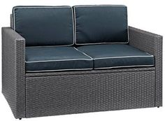 Crosley Palm Harbor Outdoor Loveseat In Gray Wicker with Navy Cushions