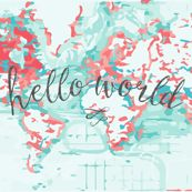 Hello World Baby Blanket or Swaddle // coral by ivieclothco