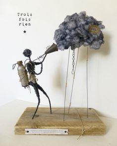 Le chasseur de nuages, clouds hunter, personnage fil de fer, fil de fer, trois fois rien, wire, wire art 1