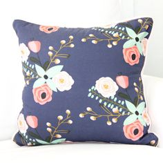 Berkeley's Blush and Navy Floral Accent Square Pillow Watercolor, Pink, Floral, and Mint Girl Baby Glider Pillow Floral Crib Bedding Baby Glider, Mint Nursery, Floral Nursery, Pink Crib, Floral Pillows, Cozy Bed, Little Girl Rooms, Crib Bedding, Pillow Covers