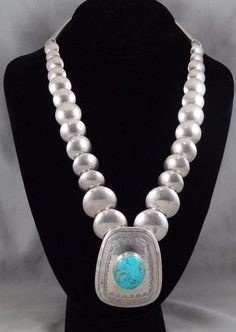 Sterling Silver FLAT BEAD & Turquoise Native American Necklace Signed DR * S093 #DiskBeadsCenterPiece