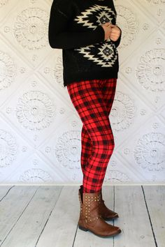 Tartan Plaid Red and Black Plaid  Leggings in Teen to Women's sizes from GreenStyle by Gogreenstyle on Etsy https://www.etsy.com/listing/203227865/tartan-plaid-red-and-black-plaid