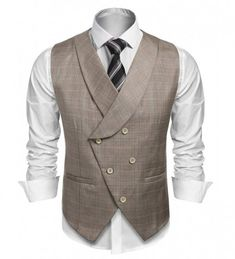 Coofandy Men's Plaid Slim Fit Double Breasted Dress Suit Button Down Vest Waistcoat,Gray,Small Waistcoat Men, Mens Suit Vest, Plaid Suit, Waistcoat Designs, Indian Men Fashion, Mens Fashion Suits, Mens Tailored Suits, Double Breasted Waistcoat, Mode Man