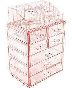 Sorbus Acrylic Cosmetic Makeup and Jewelry Storage Case Display - Spacious Design - Great for Bathroom, Dresser, Vanity and Countertop Large, 4 Small Drawers, Pink) Rose Gold Room Decor, Rose Gold Rooms, Rose Gold Bedroom Accessories, Bedroom Ideas Rose Gold, Makeup Storage Case, Makeup Storage Organization, Acrylic Makeup Storage, Makeup Drawer, Cosmetic Storage
