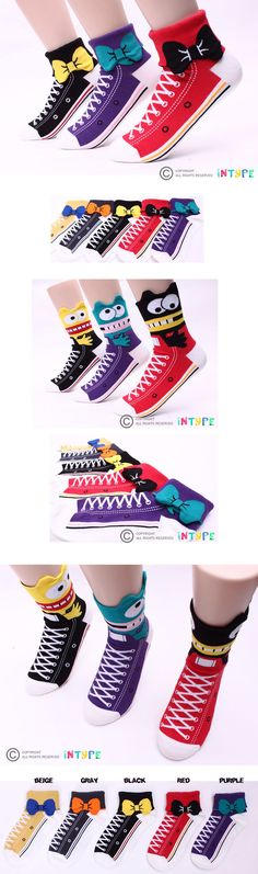 Sneakers Print socks pack of 5pairs Turn-cuff socks(2way :Ribbon&Monster) #Women#Socks#Funny#Cute#Character