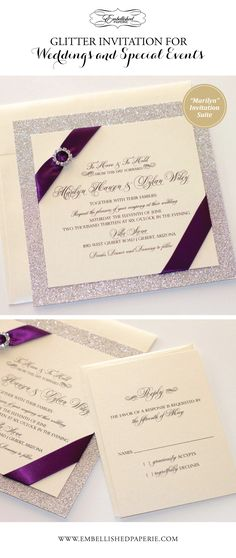 Couture Glitter Wedding Invitation - Ivory metallic with Silver Glitter paper and Deep Purple Ribbon with Rhinestone Buckle. Elegant Wedding Invitation. Colors can be customized. www.embellishedpaperie.com