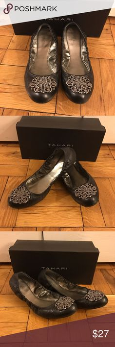 Tahari Valerie flats Tahari flats with metal floral design. Fits both 8 or 8.5. Worn only twice. Barely noticeable scuff in front of the shoes. Fits very well with any outfit! EUC Tahari Shoes Flats & Loafers