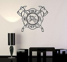 Vinyl Wall Decal Fire Department Emblem Shield Firefighter Stickers VS240 * You can find out more details at the link of the image.
