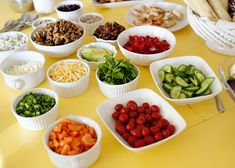 salad bar party = perfect for little impromptu gatherings. make the dressing myself, make sure lots of meat (shrimp, steak, chicken, etc) is available for the guys... make a big pot of soup and buy a loaf of crusty bread to go along with...