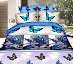 Romantic Blue #Butterfly #3D Printed 4-Piece Polyester 3D Duvet Cover #bedroom #bedding