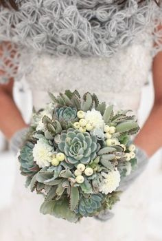 Decorate your winter wedding with a succulent bouquet.