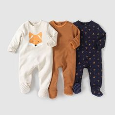 Baby Boy's Fleece Sleepsuits & Cotton Pyjamas - Pack of 3 Cotton Interlock Sleepsuits, Birth – 3 Yrs - Baby Outfits, Outfits Niños, Toddler Outfits, Neutral Baby Clothes, Trendy Baby Clothes, Little Boys Clothes, Baby Hai, Cute Babies, Baby Kids