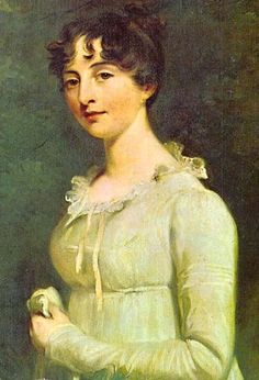 regency portrait: Detail of a portrait of Marcia Fox, by Sir William Beechey  white dress with ruffled lace neckline and long sleeves.