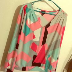 Fun colorful blouse!  Worthington long sleeve blouse. Super cute with jeans and heels  Worthington Tops Blouses