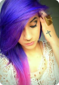 Purple and pink dip dyed hair color
