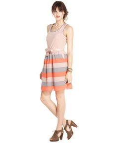 Maison Jules Dress, Sleeveless Scoop-Neck Striped A-Line - Maison Jules - Women - Macy's LUNA Loves Glamorama