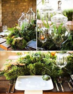 绿色森林风的餐桌布置