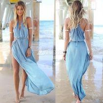 2014 nuevo verano Sexy mujeres vendaje V-cuello playa Boho Maxi vestido de tirantes Halter vestido largo