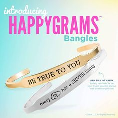 Our NEW { HappyGram } bracelets are the perfect accessories add a meaningful affirmation to your Origami Owl arm party!  To visit this new and collect click : Timelesslocket.OrigamiOwl.com  Timeless Locket Tiffany  #timeless #affirmation #origamiowl #bracelet #beYOU #BeTrueToYOU #silverlining #bangles #askmehow