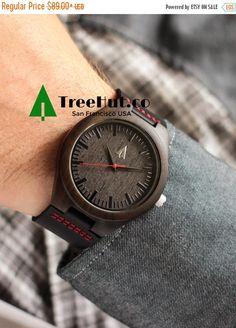 SALE TREE HUT Black Watch, Black Leather Wood Watch, Mens Watch,, Mens watch, Groomsmen gift, Wood Watch Bamboo Watch Hut11-31
