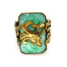 Vintage Art Deco Czech Neiger Brothers Peking Glass Dragon Ring | Clarice Jewellery