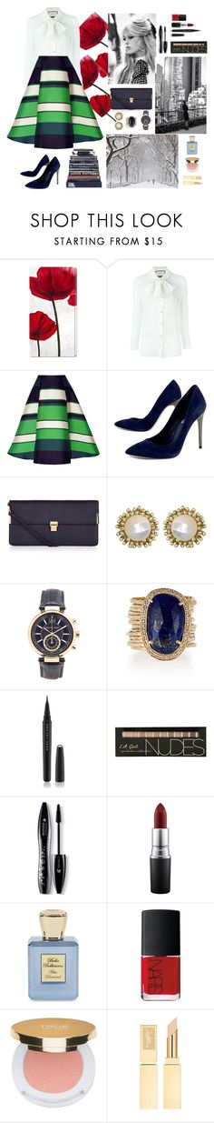 """Silky smooth."" by ilsejoy ❤ liked on Polyvore featuring Gucci, Lanvin, BCBGMAXAZRIA, GE, Accessorize, Kendra Scott, Michael Kors, Jacquie Aiche, Marc Jacobs and Lancôme"