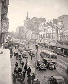 F. Street, Washington DC. 1938 or 1939 by Harris & Ewing.