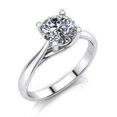 1.34 Ct Round Brilliant Diamond Engagement Ring Enhanced SI1/H 14K White Gold #MyDiamonds #Solitaire