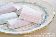 Valentine Freebie: Printable Conversation Candy BarWrappers - Home - Creature Comforts - daily inspiration, style, diy projects + freebies