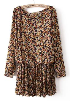 #SheInside Apricot Batwing Long Sleeve Floral Pleated Dress