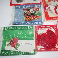 Vintage Christmas Lot Seals Tags Cards 2000 Dennison Ben Mont Hallmark New Used…