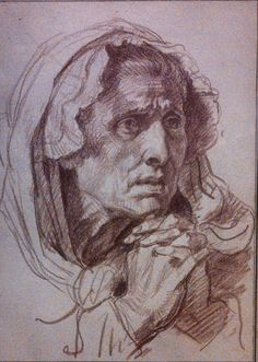 (Taken at the Getty Museum) Head of an Old Woman by Jean-Baptiste Greuze    View my art at www.artbyphylecia.tumblr.com