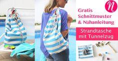 Nähe eine Strandtasche mit Tunnelzug. Kostenlose Nähanleitung & Schnittmuster ❤ Einfach für Anfänger ❤ Nähtalente - Magazin für kostenlose Schnittmuster