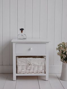Small White Bedside Cabinet - Two drawer white bedside table