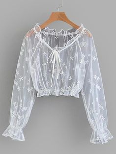 To find out about the Embroidered Mesh Crop Top at SHEIN, part of our latest Blouses ready to shop online today! Girls Fashion Clothes, Teen Fashion Outfits, Fashion Dresses, Girl Outfits, Clothes For Women, Crop Top Outfits, Cute Casual Outfits, Fancy Tops, Kawaii Clothes