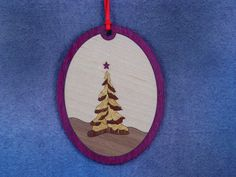Wood Inlay Christmas Ornament - Yule Tree by EzMarquetry on Etsy